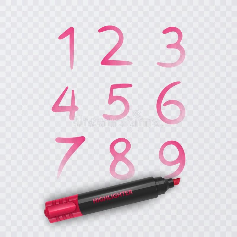 设置从零到九,数字的十个数字得出与红色标志,传染媒介例证 向量例证