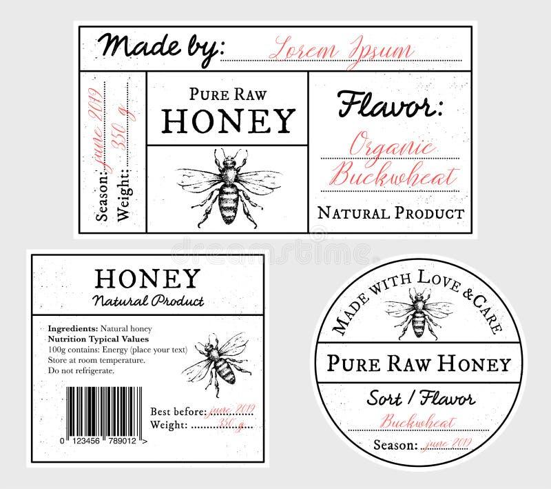 设置传染媒介与蜂蜜蜂-盒盖、前面和后面标签的卡片模板 皇族释放例证