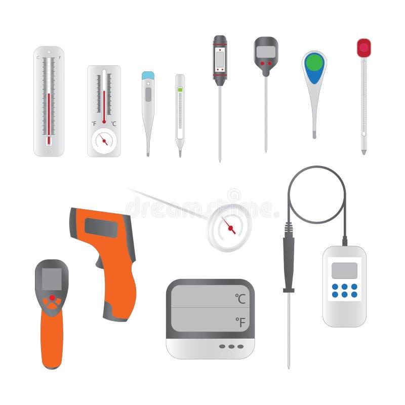 设置传染媒介例证温度计 库存例证