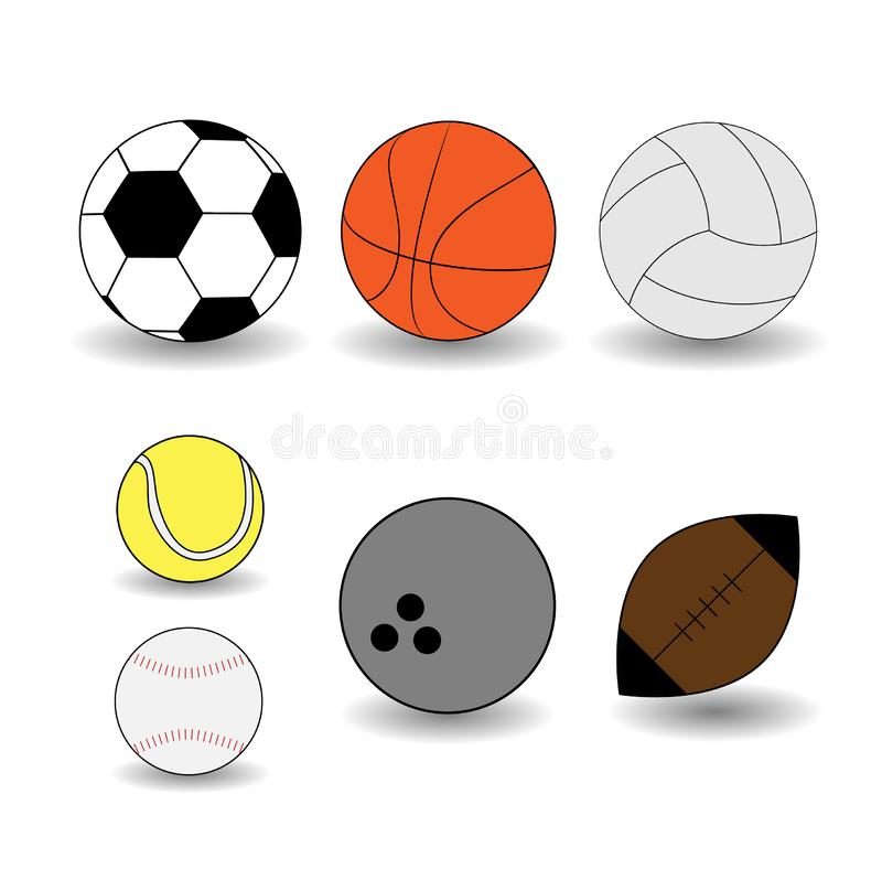 设置传染媒介在平的样式的体育球 皇族释放例证