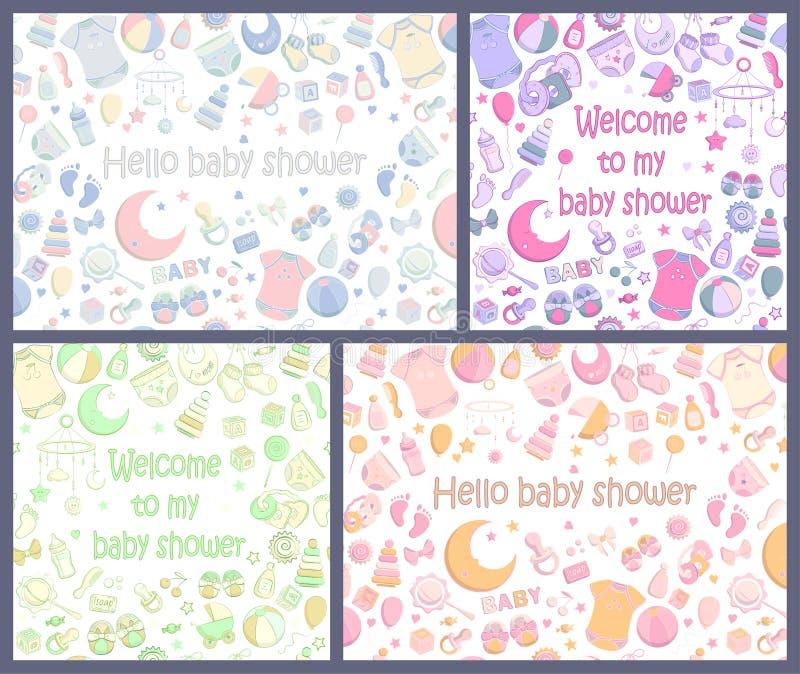 设置传染媒介婴儿送礼会邀请 库存例证