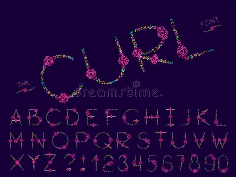 设置传染媒介摘要字体和字母表 向量例证