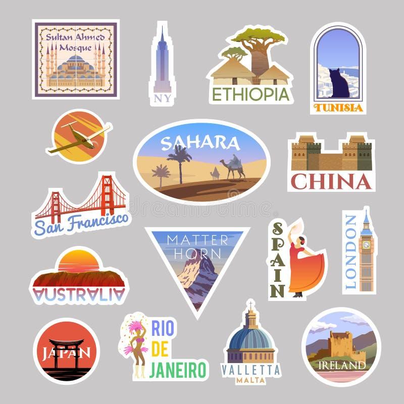 设置传染媒介旅行的贴纸colliction 在世界范围内 向量例证