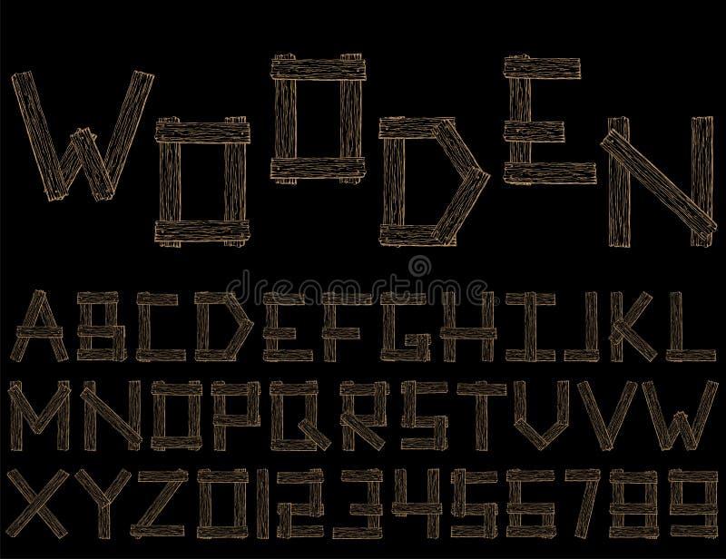 设置传染媒介木抽象字体和字母表 库存例证