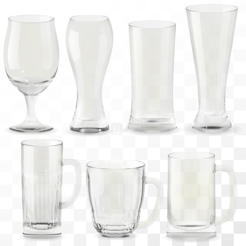 设置传染媒介现实透明啤酒杯 酒精饮料玻璃象例证 向量例证