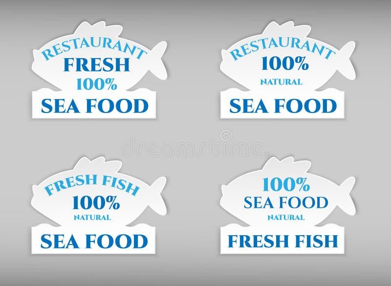 设置传染媒介空白的形状白色鱼纸塑料广告价格晃摇物正面图 在背景 广告价格st 库存例证