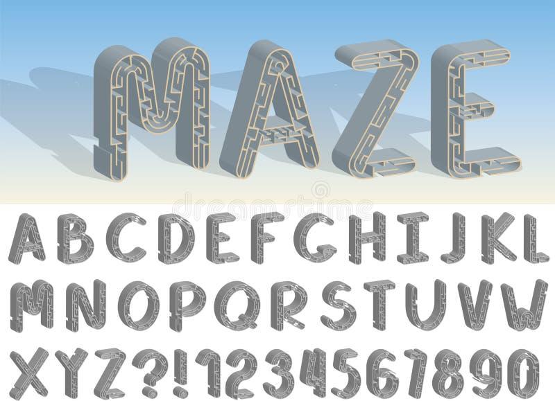 设置传染媒介线迷宫字体和字母表 库存例证