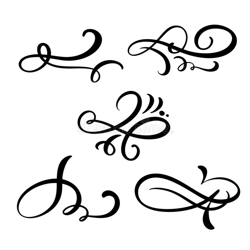 设置传染媒介葡萄酒线典雅的分切器和分离器、漩涡和角落装饰装饰品 金银细丝工花卉的线 库存例证