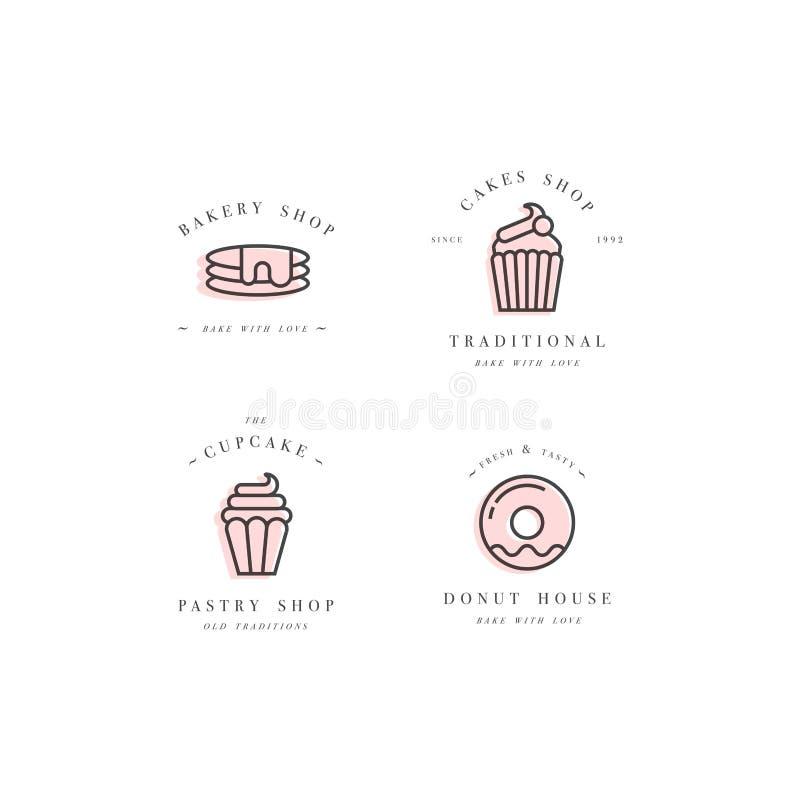 设置传染媒介设计模板和象征-杯形蛋糕,多福饼并且烘烤象 皇族释放例证
