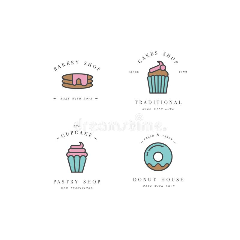 设置传染媒介设计模板和象征-杯形蛋糕,多福饼并且烘烤面包店商店的象 界面甜点 向量例证
