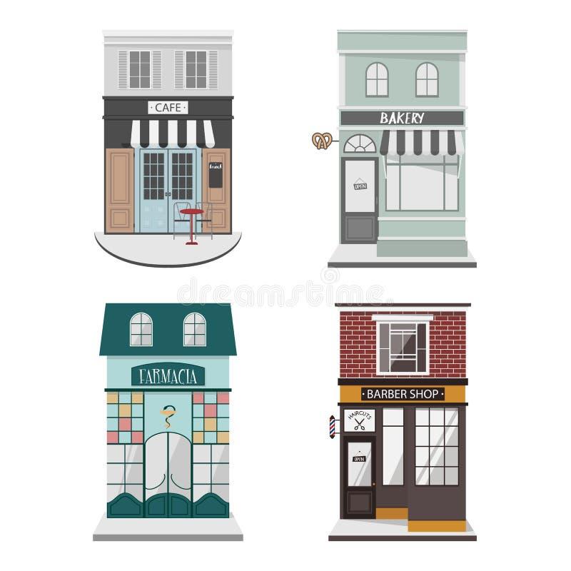 设置传染媒介详细设计在平的样式的大厦门面 咖啡馆,理发店,面包店,Farmacy 向量例证