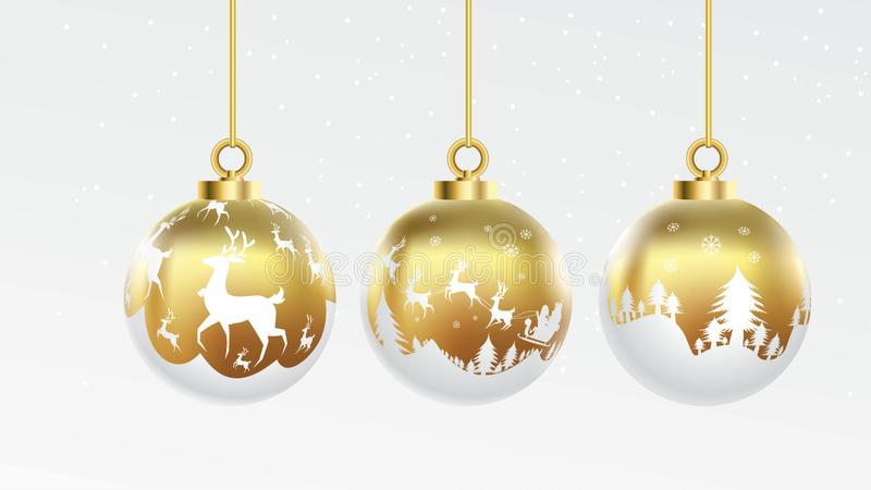 设置传染媒介金子和白色圣诞节快乐球与装饰品 光滑的收藏被隔绝的现实装饰 也corel凹道例证向量 向量例证
