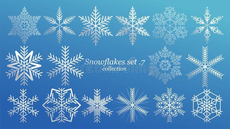 设置传染媒介雪花与蓝色冰豪华颜色的圣诞节设计在蓝色背景 冬天白雪剥落水晶元素 库存例证