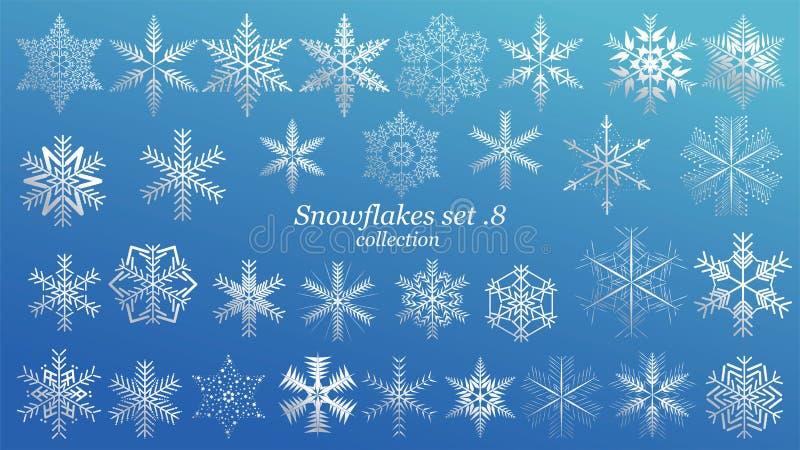设置传染媒介雪花与蓝色冰豪华颜色的圣诞节设计在蓝色背景 冬天白雪剥落水晶元素 皇族释放例证