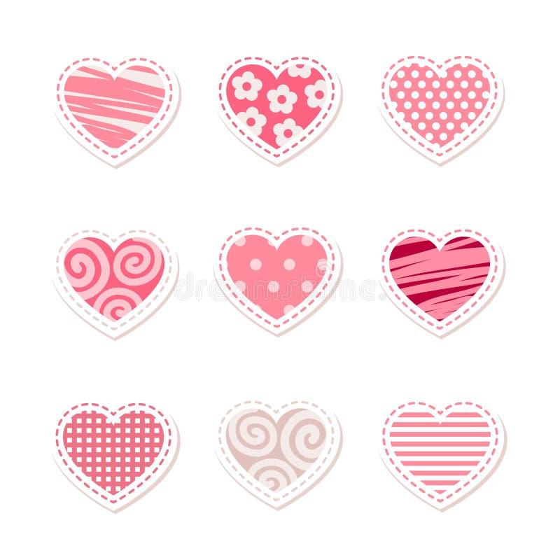 设置传染媒介风格化明亮的桃红色心脏 库存图片