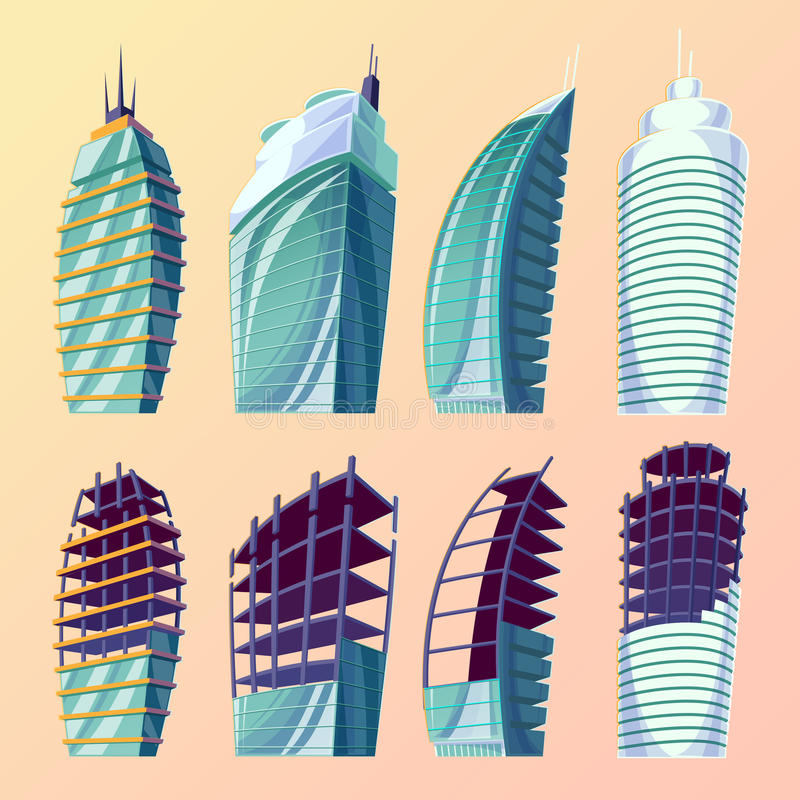 设置传染媒介动画片例证抽象都市大现代大厦,未完成的大厦 库存例证