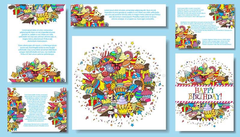 设置传染媒介卡片模板有生日聚会手凹道乱画背景 向量例证