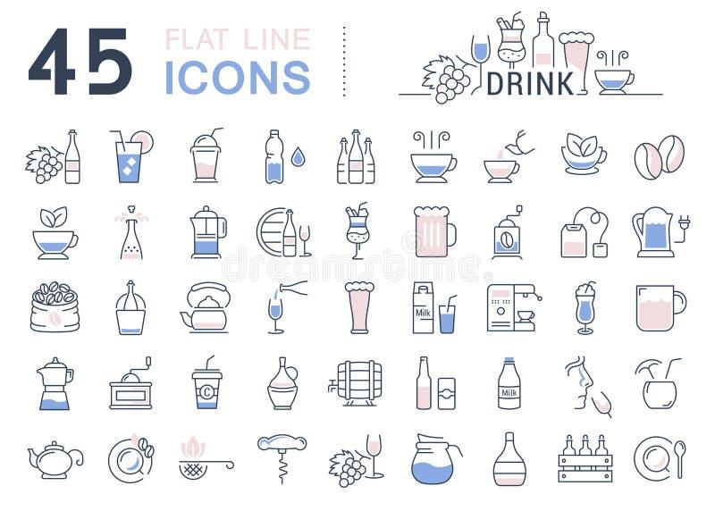 设置传染媒介平的线象饮料和酒精 库存例证