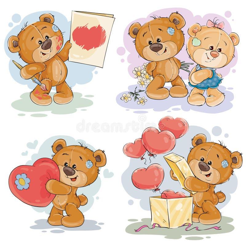 设置传染媒介玩具熊的剪贴美术例证 向量例证