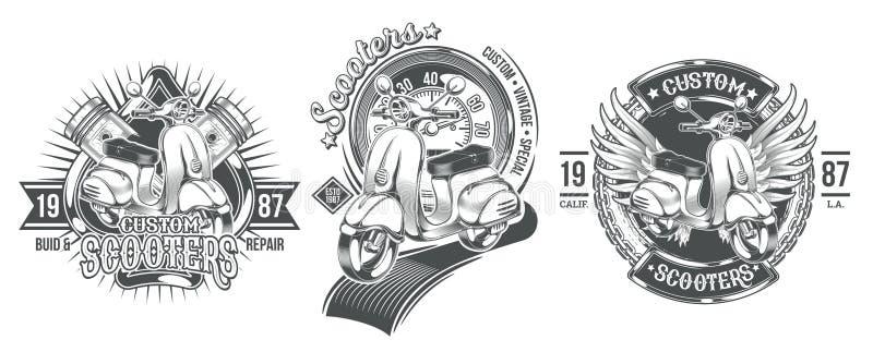 设置传染媒介黑葡萄酒徽章,与一辆习惯滑行车的象征 向量例证