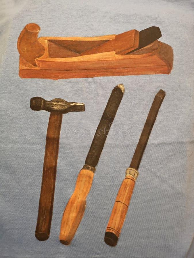设置传统木材加工-木匠工具 免版税图库摄影