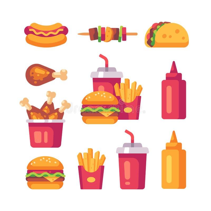 设置便当象 汉堡,油炸物,鸡 向量例证