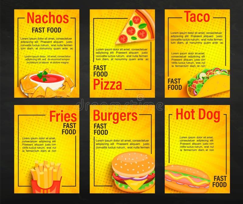 设置便当食物店菜单页 库存例证