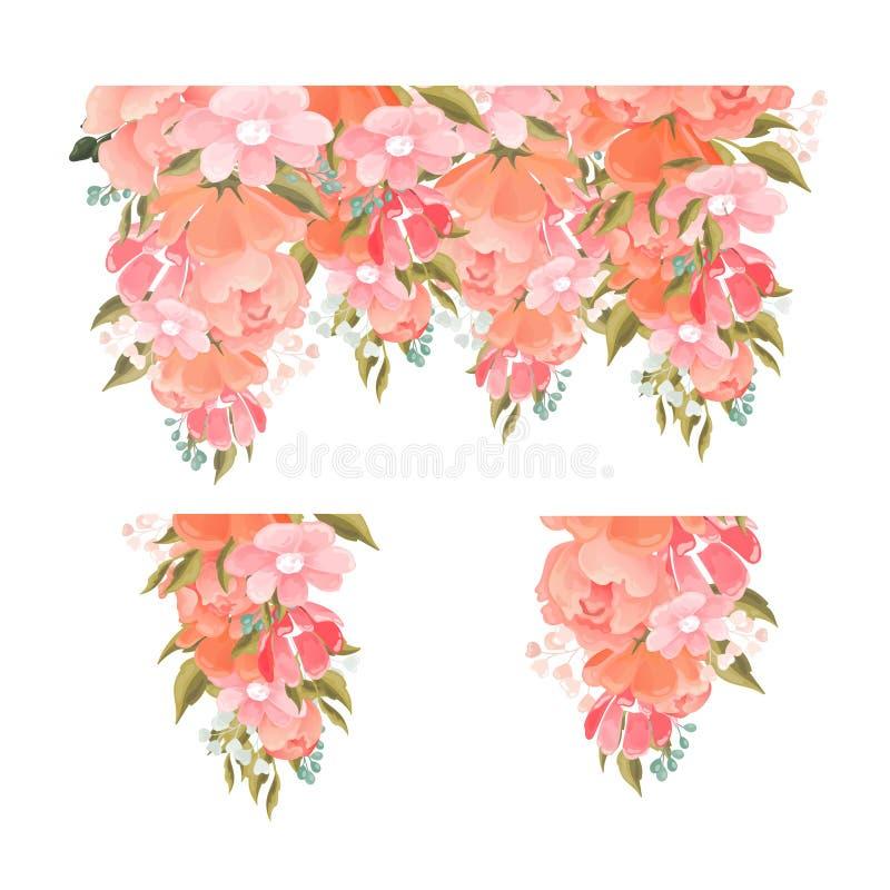 设置俏丽的桃红色上升了一块设计模板的花卉元素用绿色叶子精制的莓果和夏天开花 库存例证