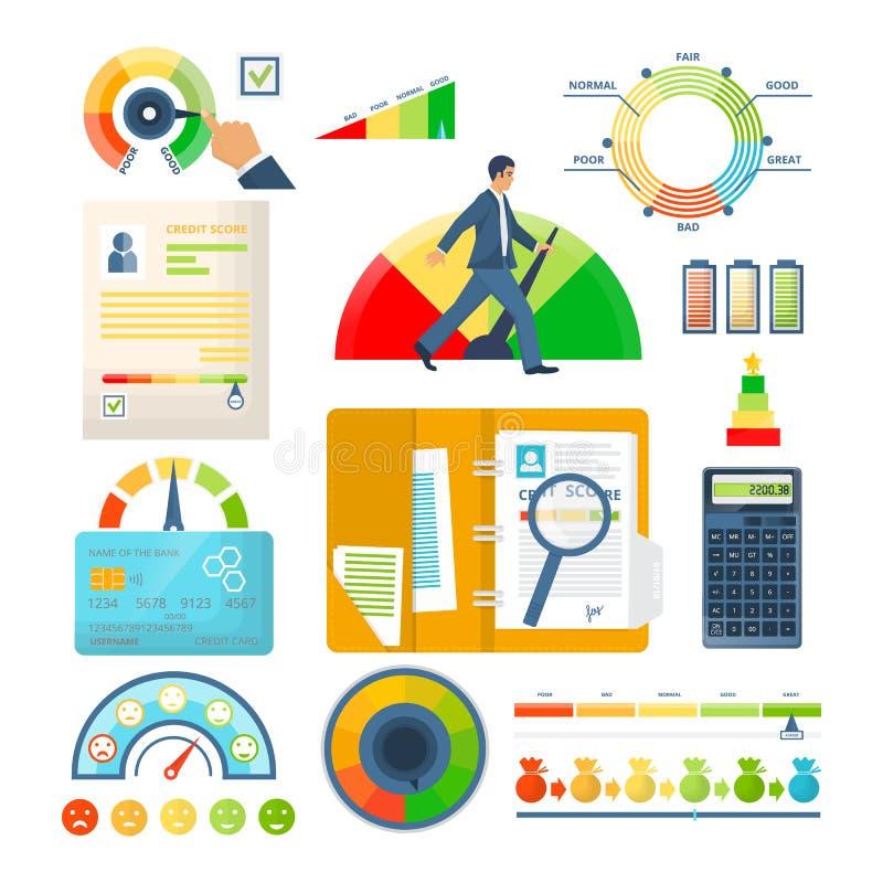 设置信用评分偿付能力显示,认同和信誉 向量例证