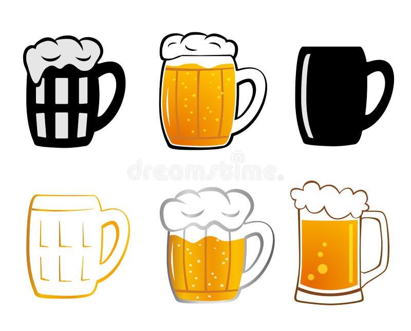 设置储藏啤酒象 向量例证
