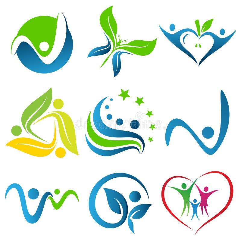 设置元素设计的五颜六色的健康象标志在白色背景 皇族释放例证