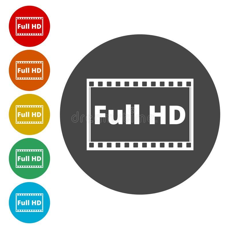 设置充分的HD标志的六个被隔绝的平的五颜六色的按钮 库存例证