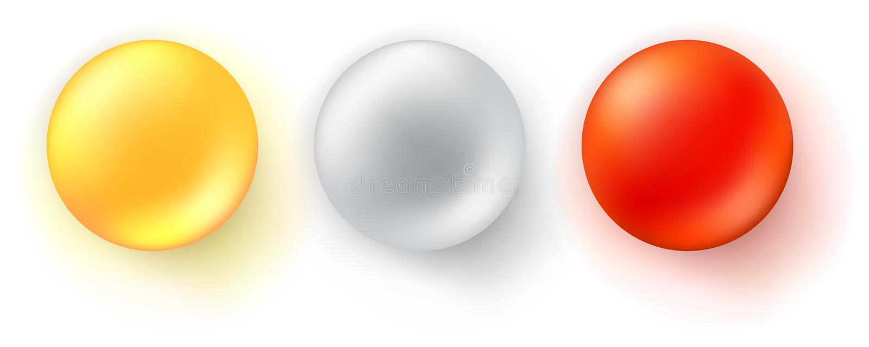 设置光滑的球象  在白色背景隔绝的现实三维球形 红色,黄色和金属 库存例证
