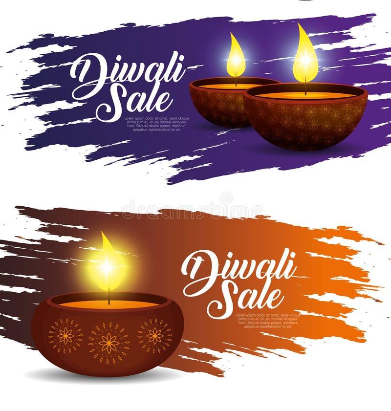 设置光蜡烛装饰对diwali节日 皇族释放例证