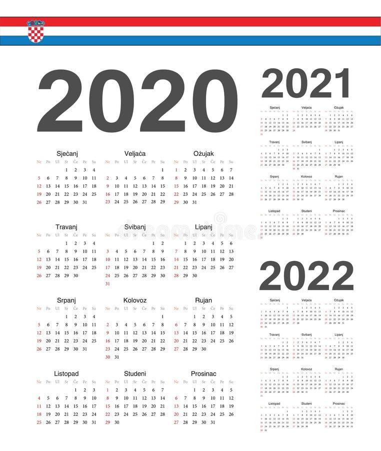 设置克罗地亚人2020年2021年,2022年传染媒介日历 向量例证