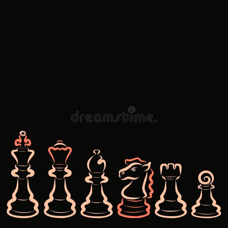 设置六个光源在黑背景的棋子 皇族释放例证