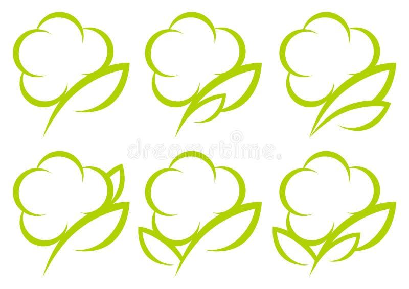 设置六个绿色图表棉花象 库存例证