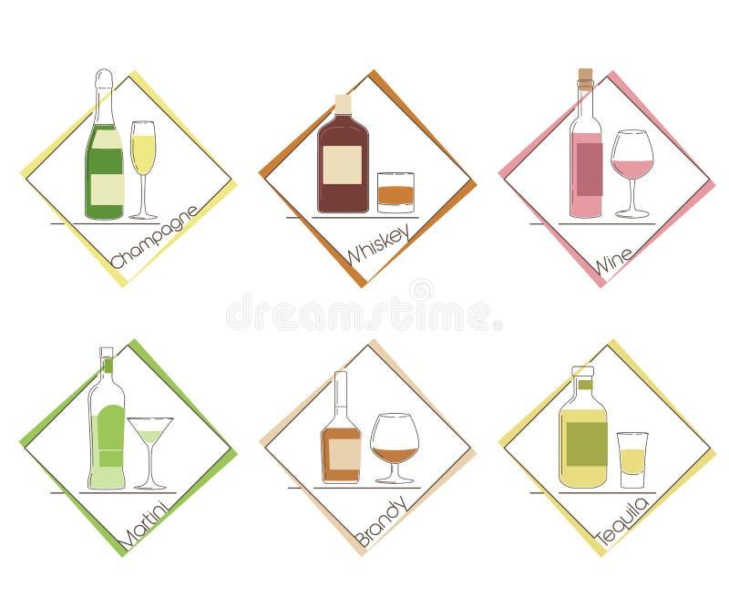 设置六套瓶和杯酒精饮料 库存例证