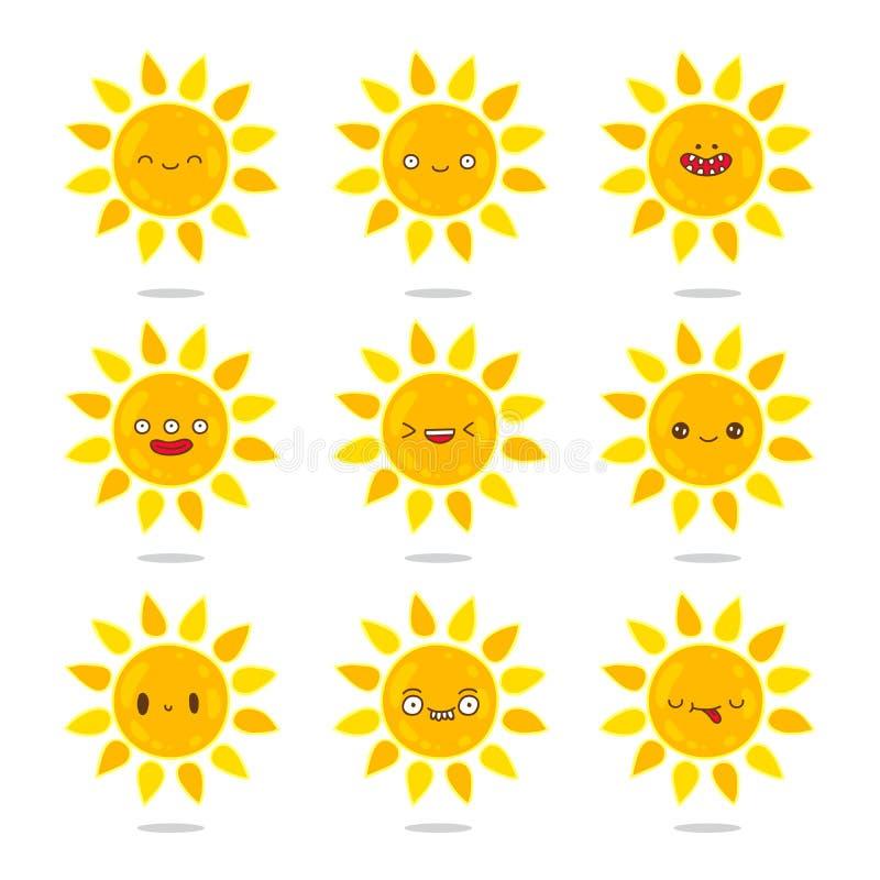 设置关于太阳的象用不同的情感 向量例证