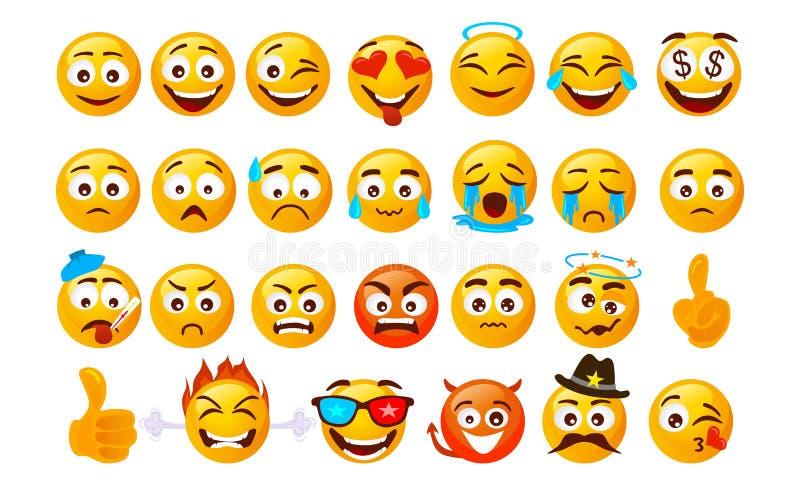 设置兴高采烈的意思号 在白色背景用不同的情感的传染媒介面孔隔绝的 传染媒介面带笑容面对 向量例证