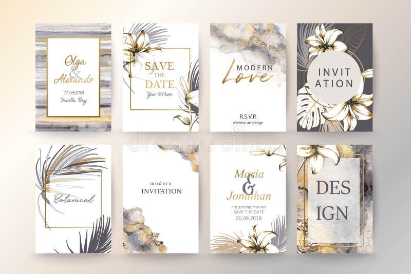 设置典雅的别致的小册子、盖子、卡片与异乎寻常的棕榈叶,百合、灰色和金水彩纹理 皇族释放例证