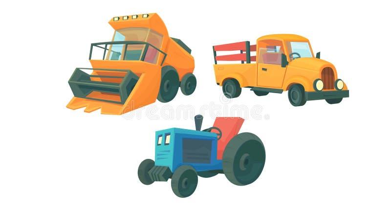 设置农厂动画片机器 联合收割机、橙色减速火箭的卡车和农用拖拉机 皇族释放例证