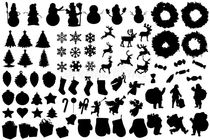 设置冬天和圣诞节剪影 圣诞节汇集 横幅的,飞行物,事务,卡片,海报剪贴美术 库存例证