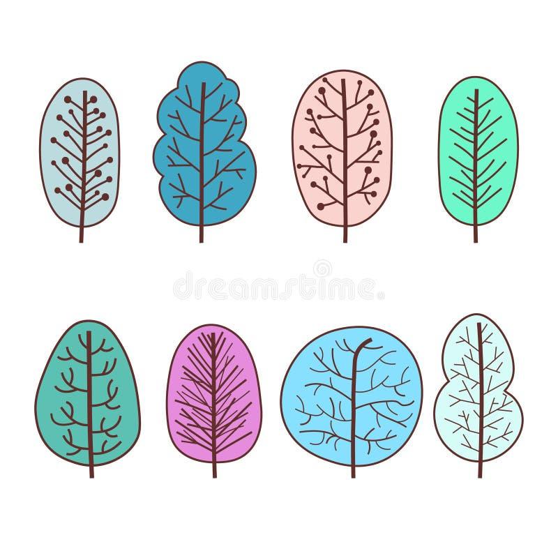设置冬天树抽象线性象 手拉的林木 向量例证