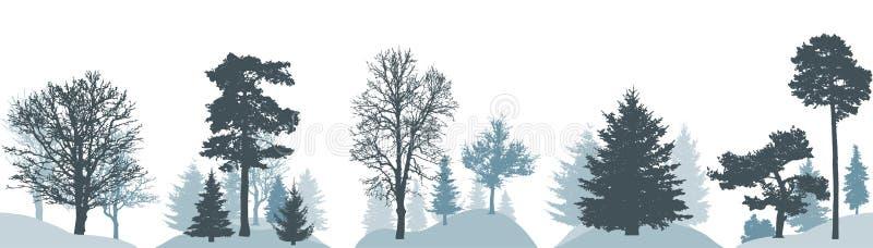 设置冬天森林,不同的树剪影  也corel凹道例证向量 皇族释放例证