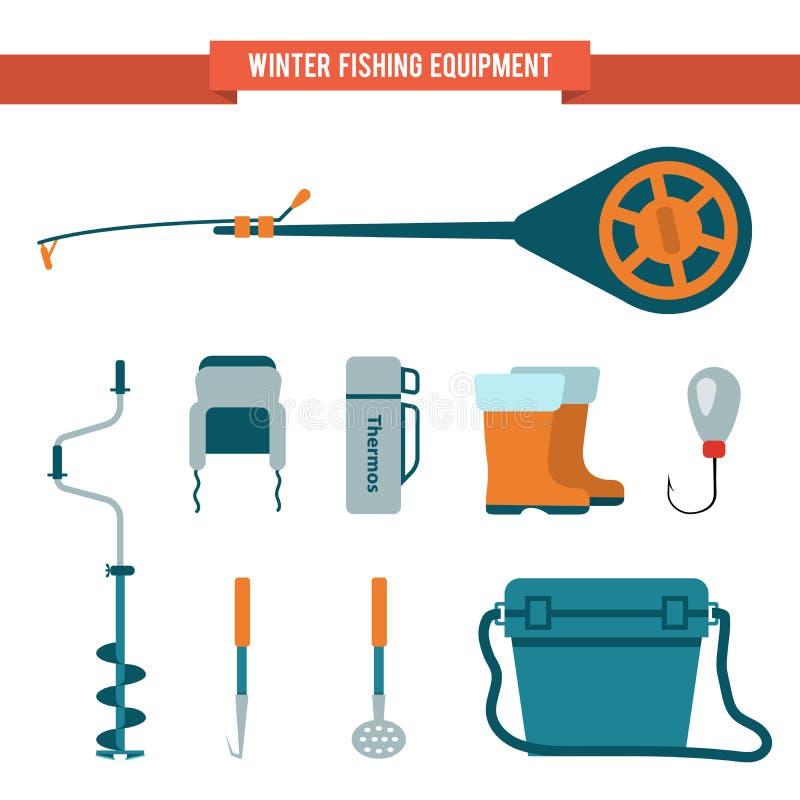 设置冬天渔的设备平的样式在冰 库存例证