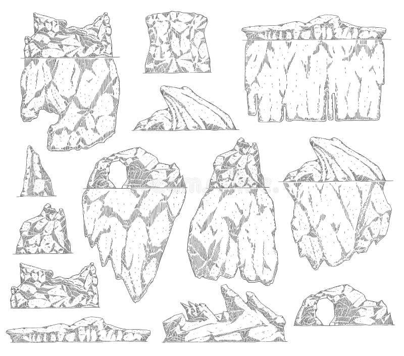 设置冰山另外形状剪影概述样式 皇族释放例证