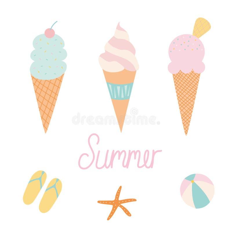 设置冰淇淋锥体和海滩项目 皇族释放例证