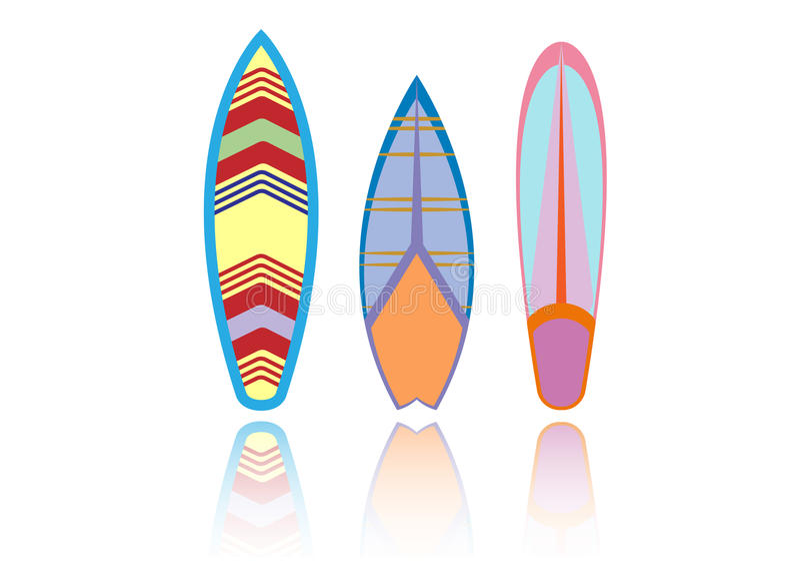 设置冲浪板五颜六色 海极端体育样式 也corel凹道例证向量 皇族释放例证