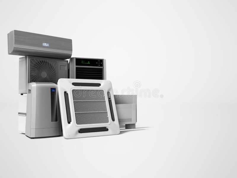 设置冷却设备墙壁空调地板空调3d回报在与阴影的灰色背景 库存例证